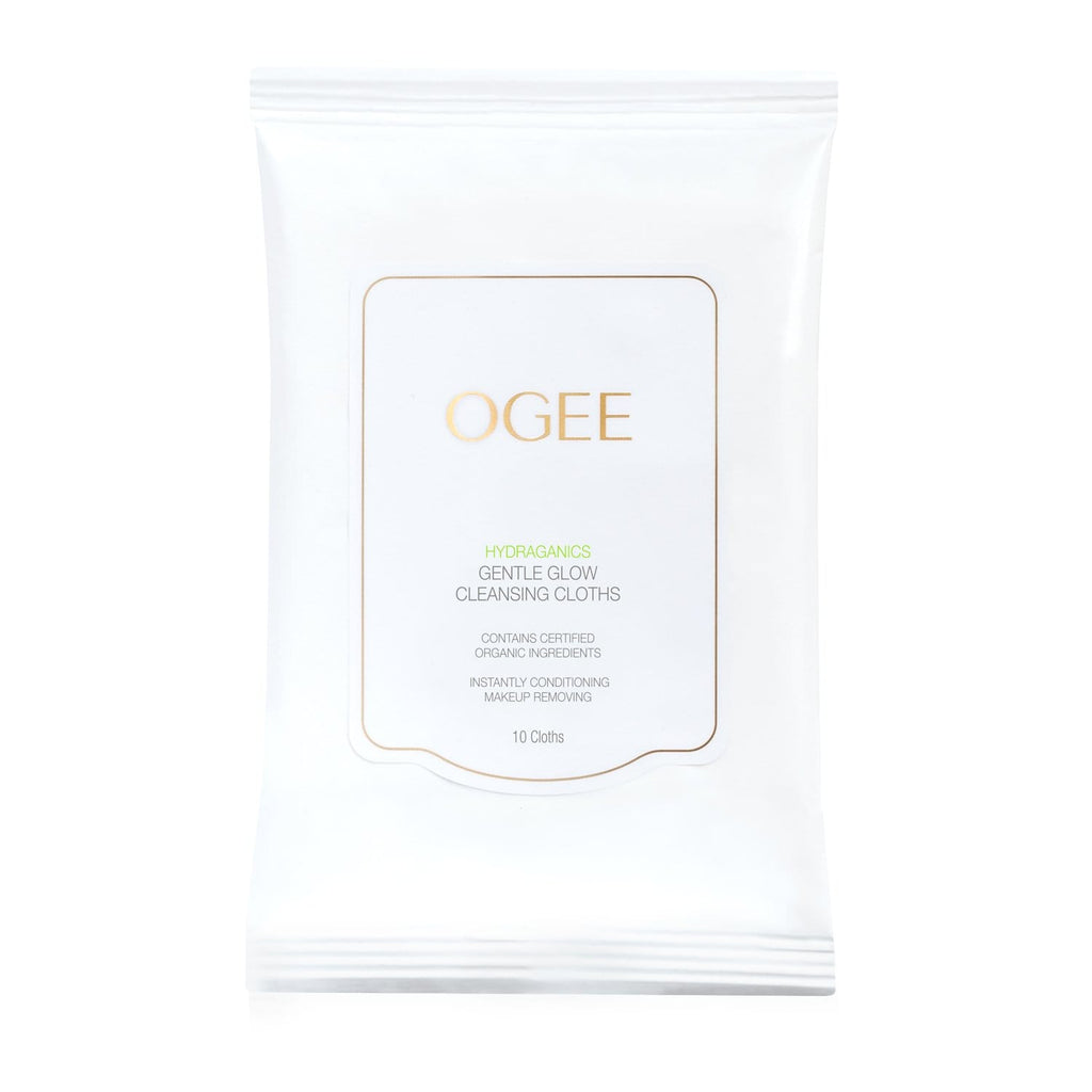 Ogee organic natural white makeup removing face wipes and cleansing cloths in white package with gold letters