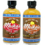 Meika's 2 pack of 4 oz (100 mls) scotch bonnet pepper sauces.