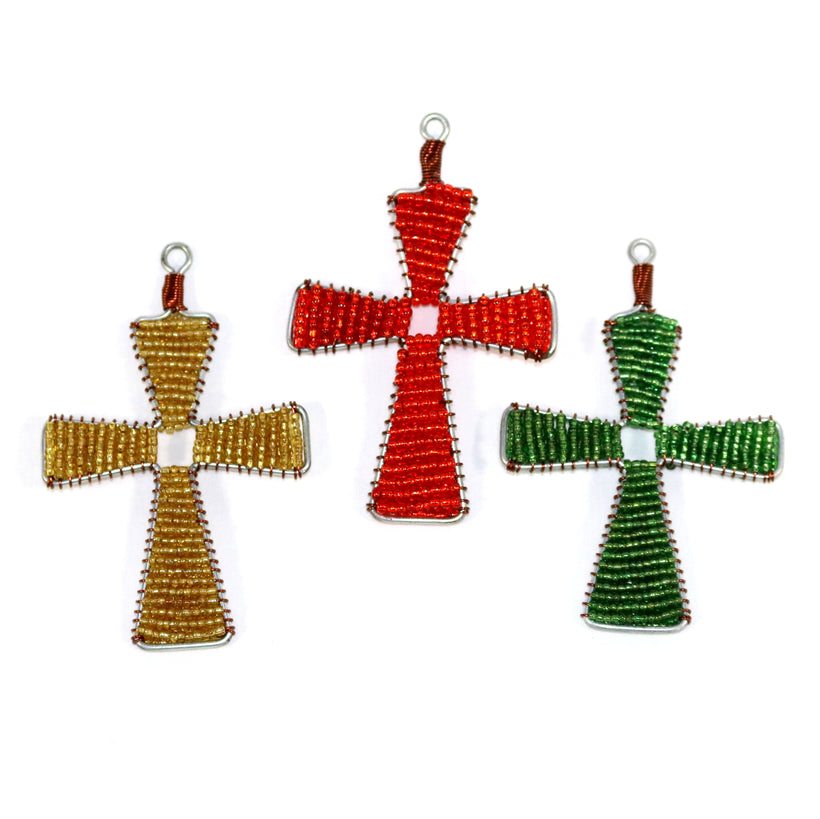 Glass Bead Cross Ornament Collection