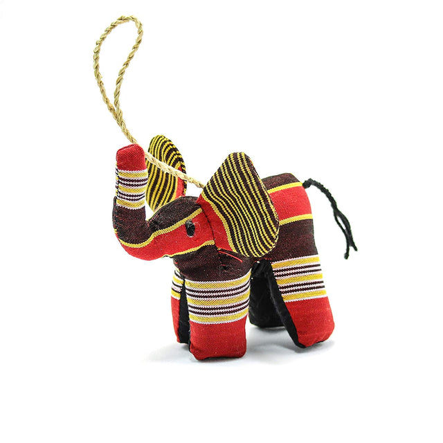 Stuffed Elephant Ornament Uganda Kikoy Fair Trade