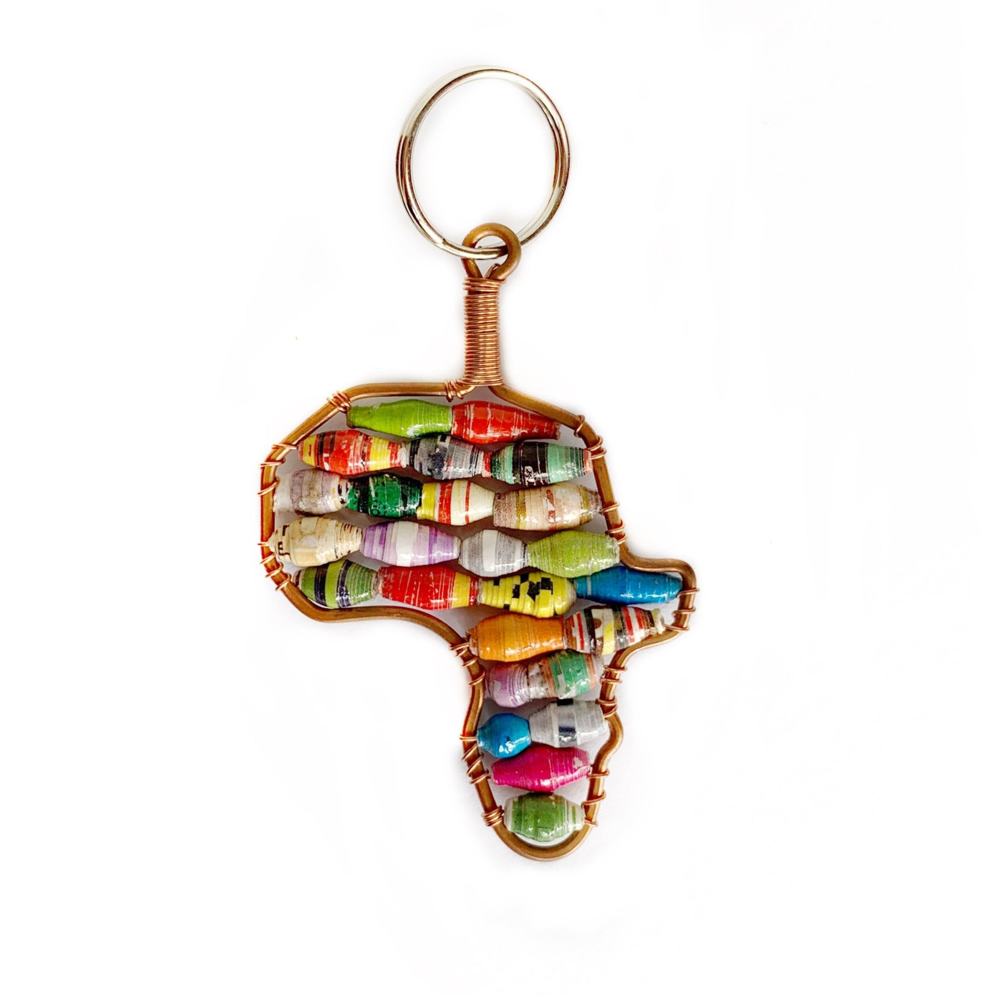 Africa Shaped Keychain Paper Bead Fair Trade