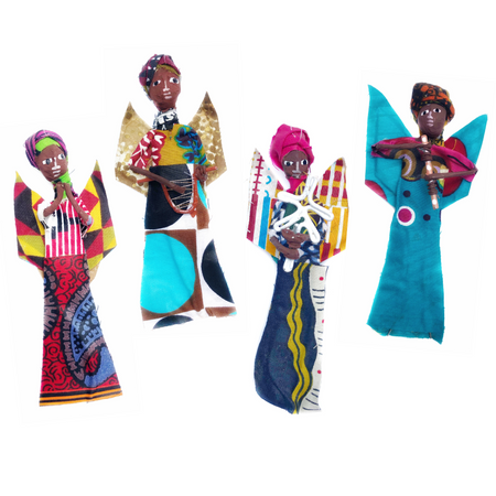 African Angel Figurine Ornament, Set of 4