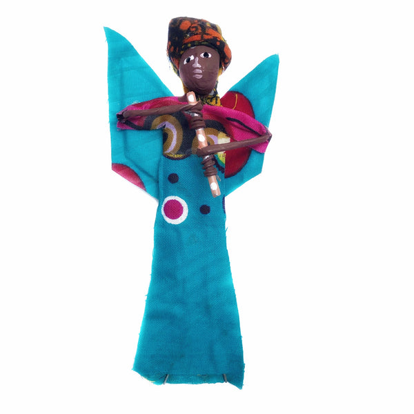 African Figurine Angel Ornament with Flute Handmade