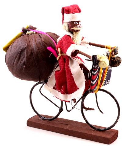 African Santa Claus Riding a Bike