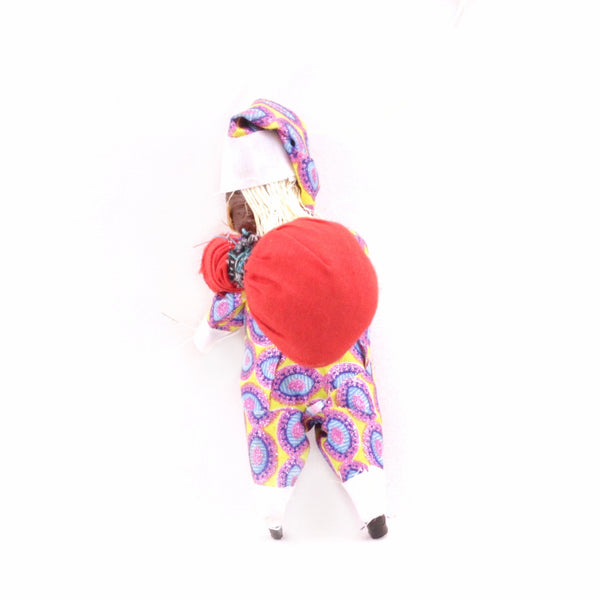 Black Santa Figurine Ornament in Colorful African Suit