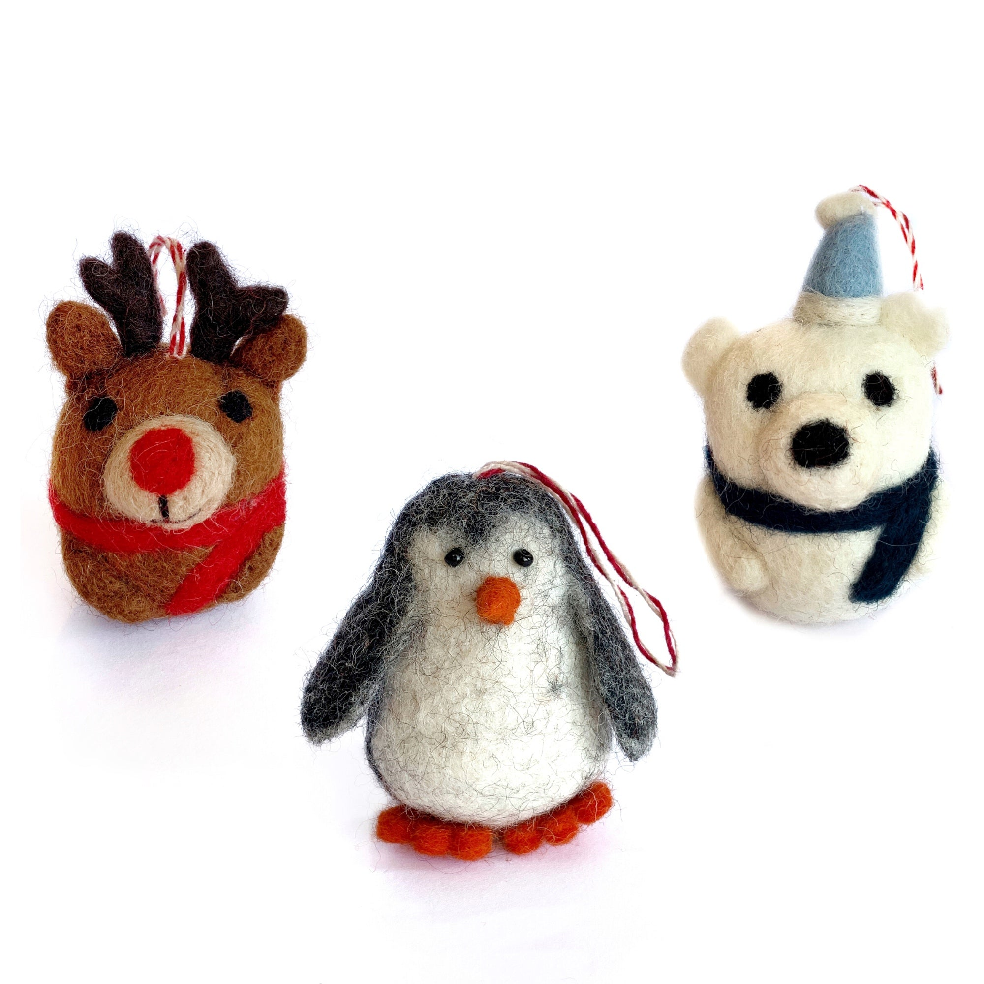 Arctic Friends Tufted Wool Ornament Trio