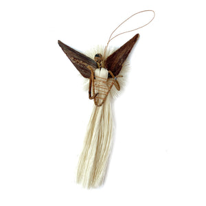 African Angel with Harp Fair Trade Christmas Ornament