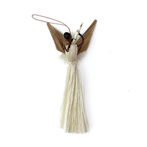 African Angel with Flute Fair Trade Christmas Ornament