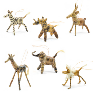 Banana Fiber Animal Ornament Set - Miniatures