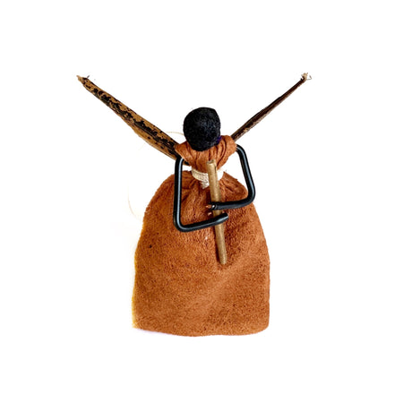 African Bark Cloth Angel with Flute Christmas Ornament