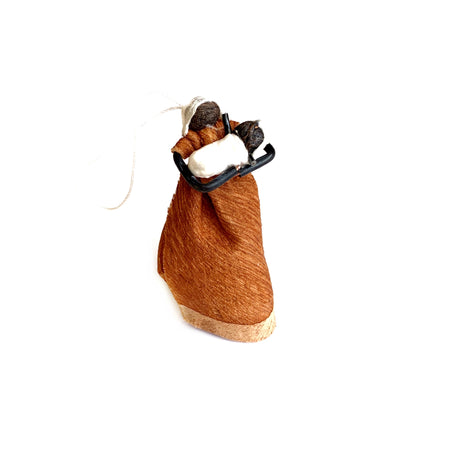 African Mother and Child Bark Cloth Christmas Ornament