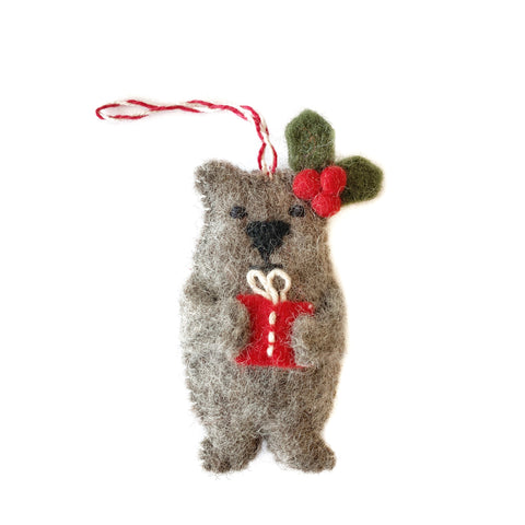 Christmas Bear Ornament Felted Wool Fair Trade