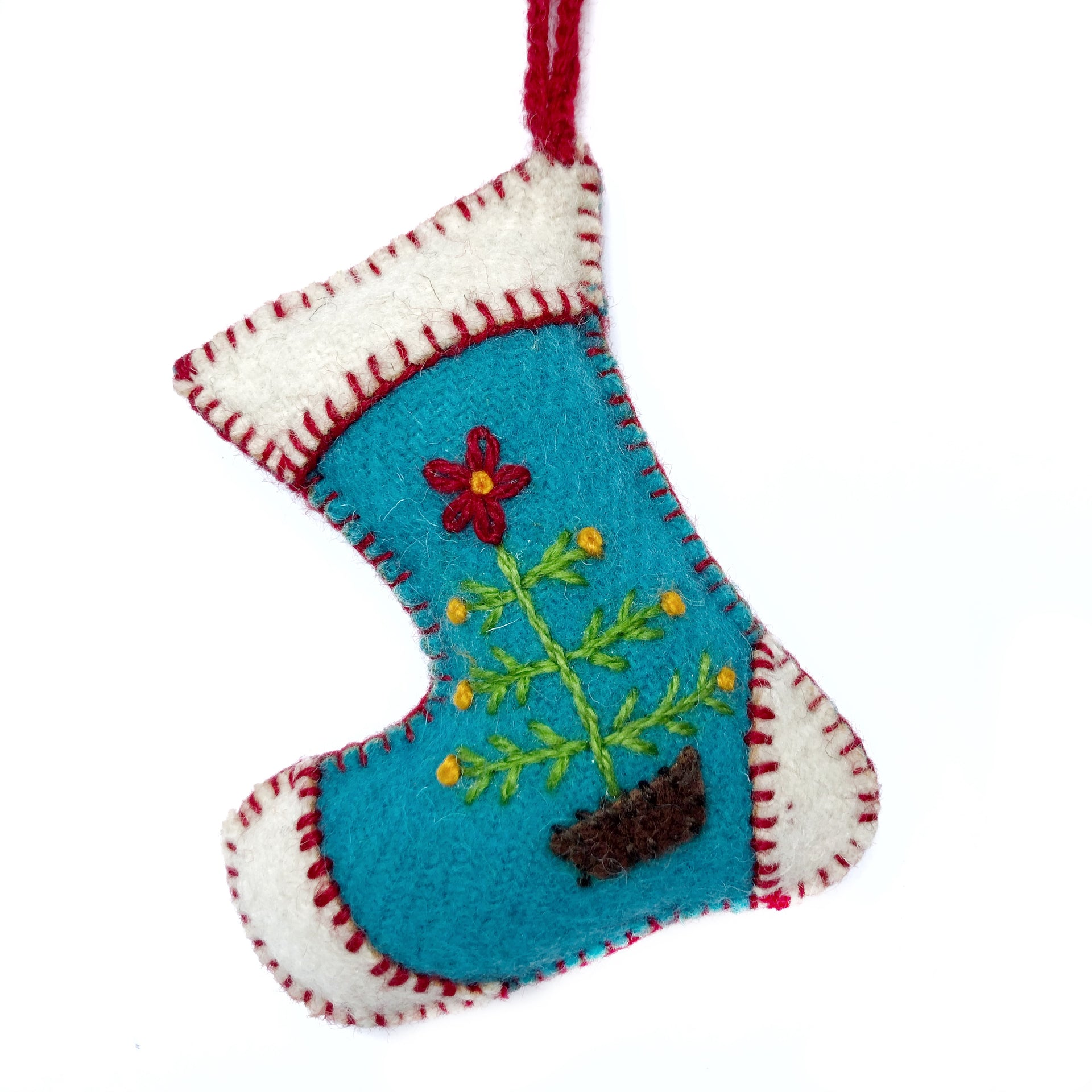 Blue Stocking, Embroidered Wool Ornament