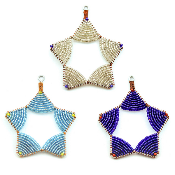 Glass Bead Star Ornament Trio Fair Trade