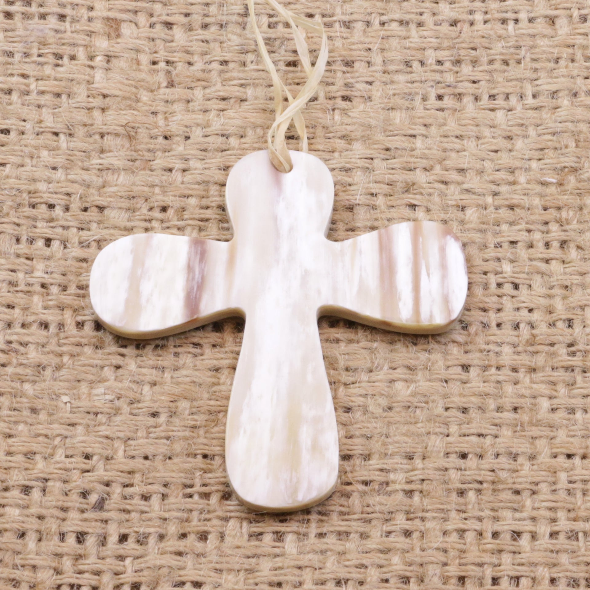 Cow Horn Christmas Ornament Cross Handmade