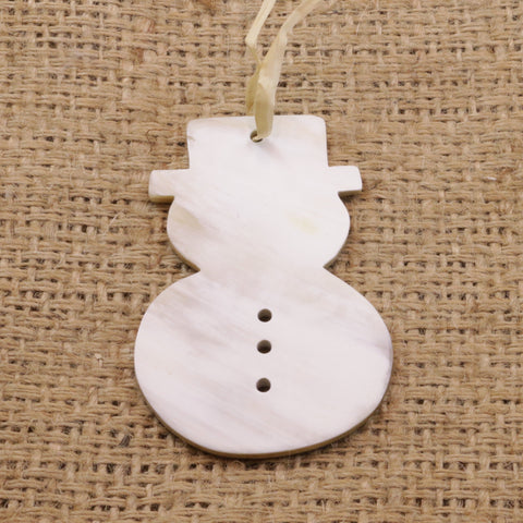 Snowman Christmas Ornament Cow Horn Fair Trade