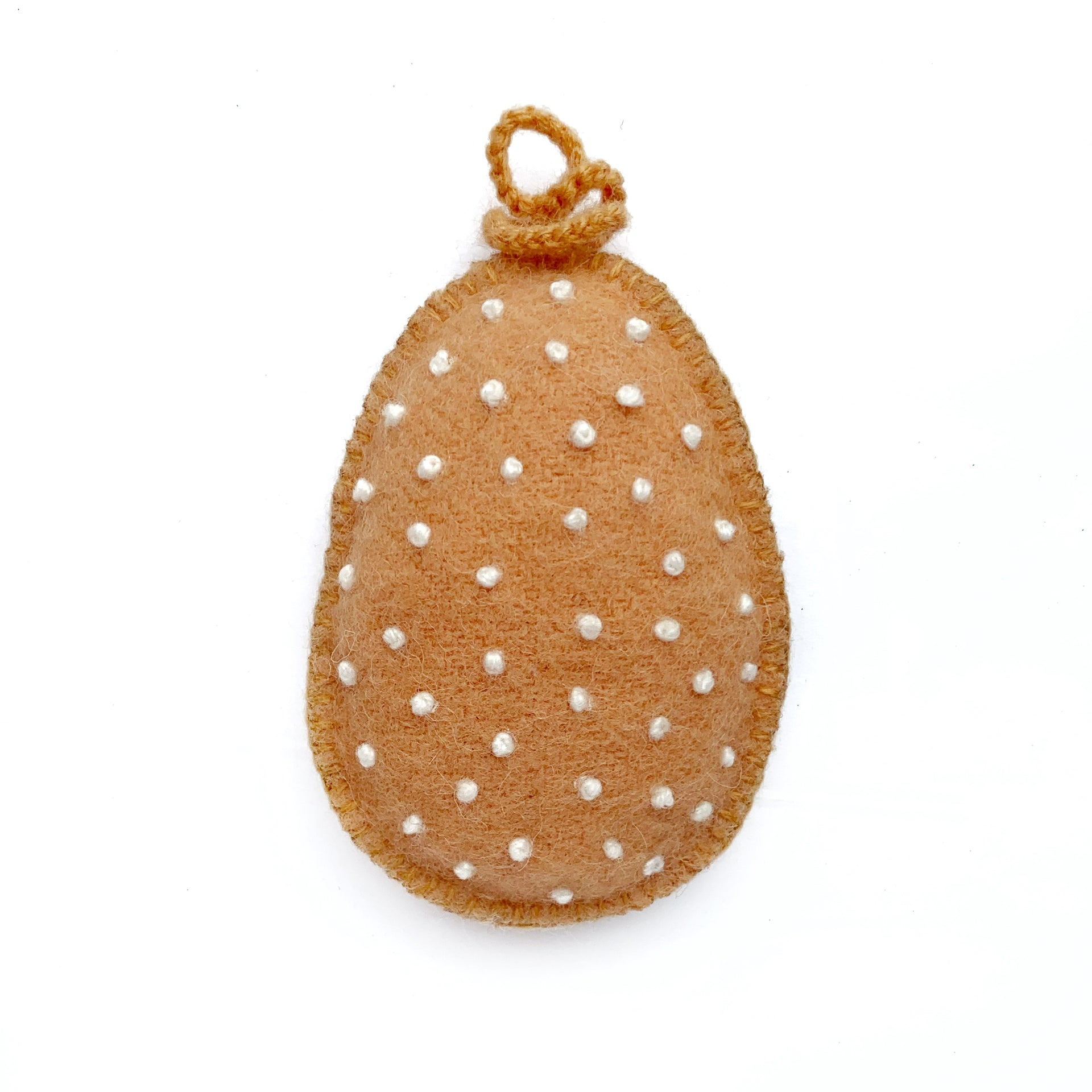 Easter Egg Ornament with Embroidered White Dots