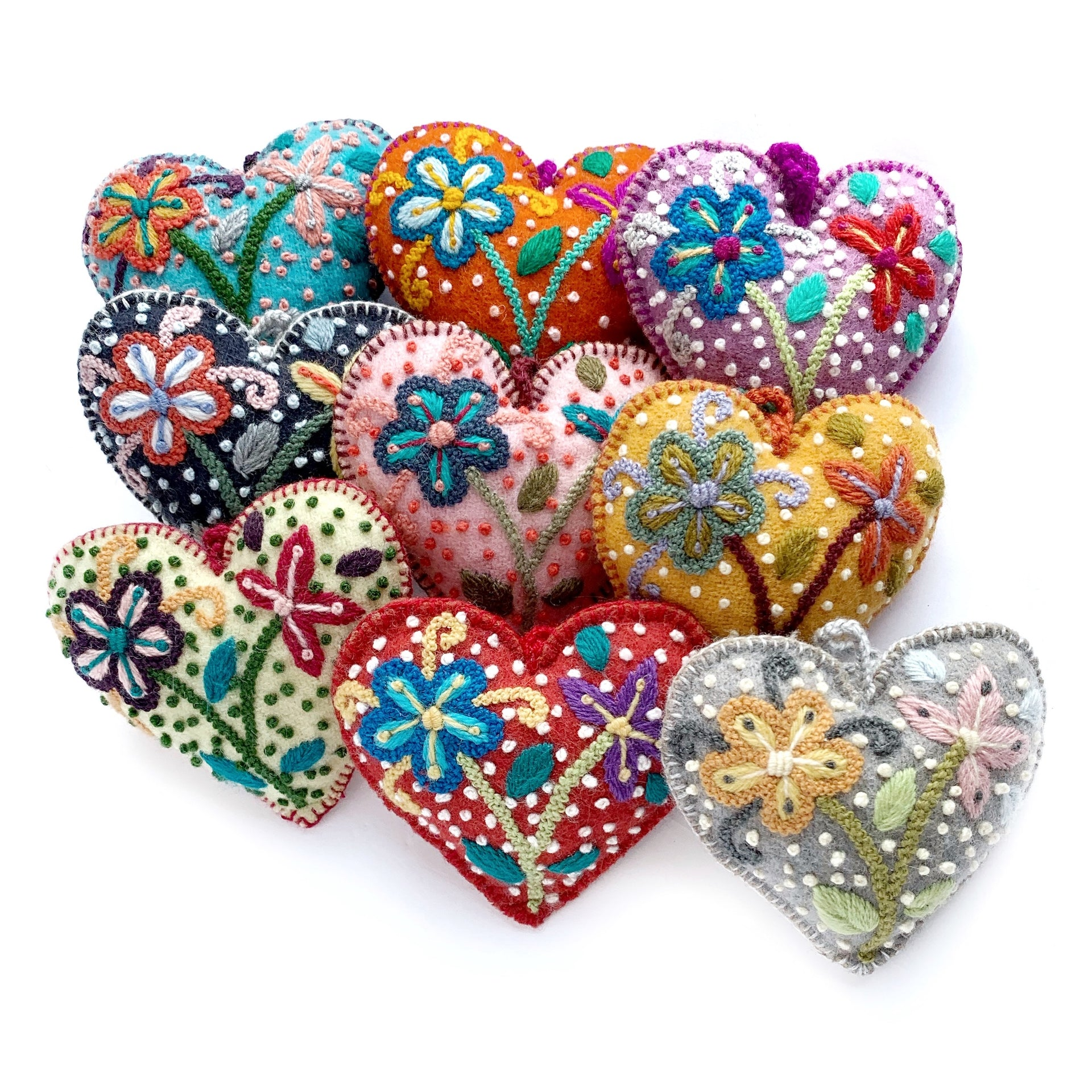 Colorful Heart Ornament, Embroidered Wool