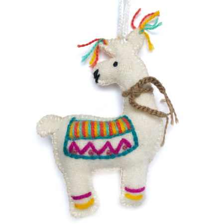 Llama, Embroidered Wool Ornament
