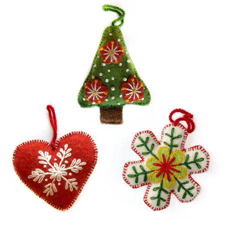 Classic Christmas Embroidered Wool Ornament Trio