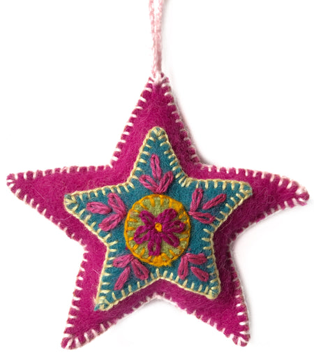 Star, Embroidered Pink Wool Ornament