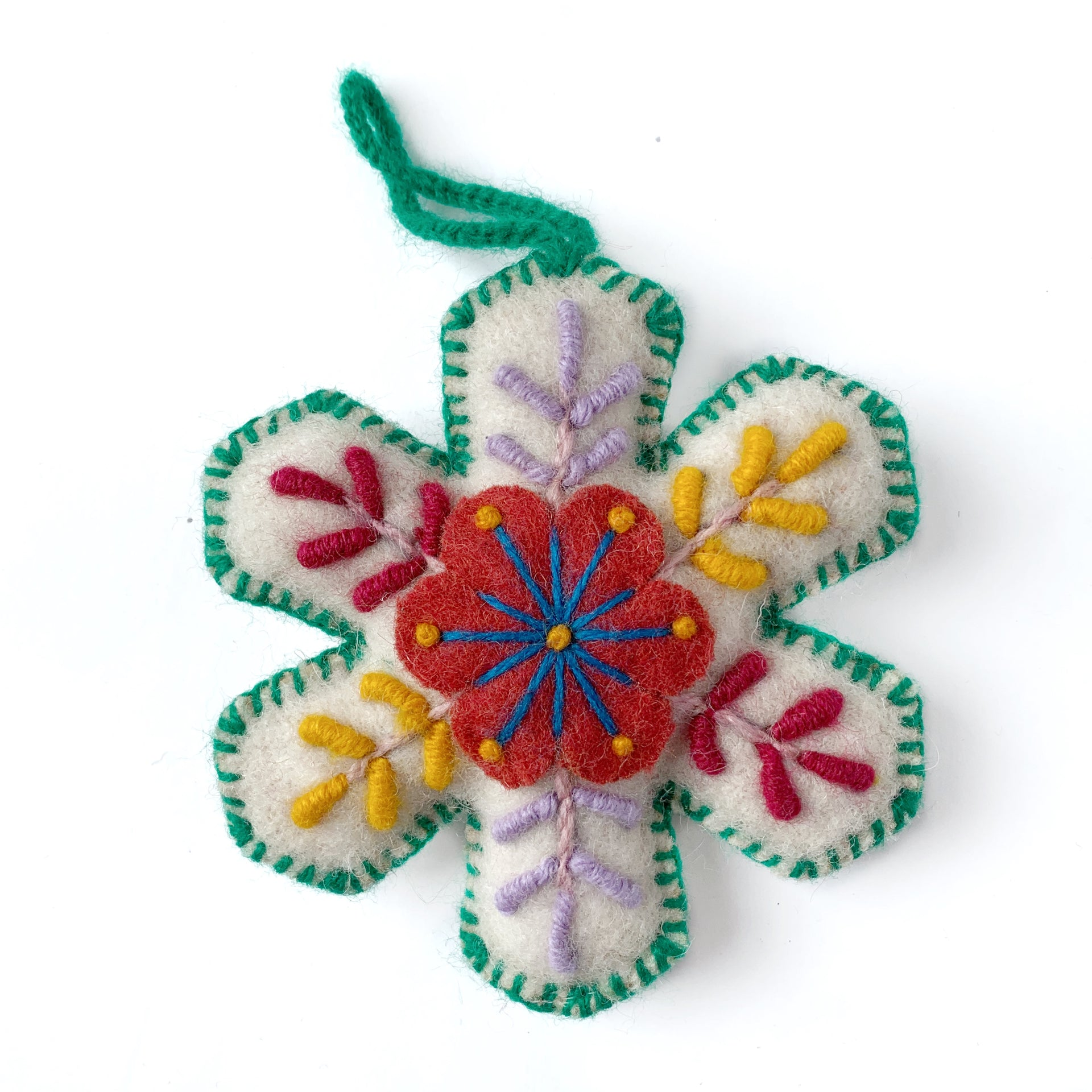 Snowflake Ornament, Multicolor Embroidered Wool