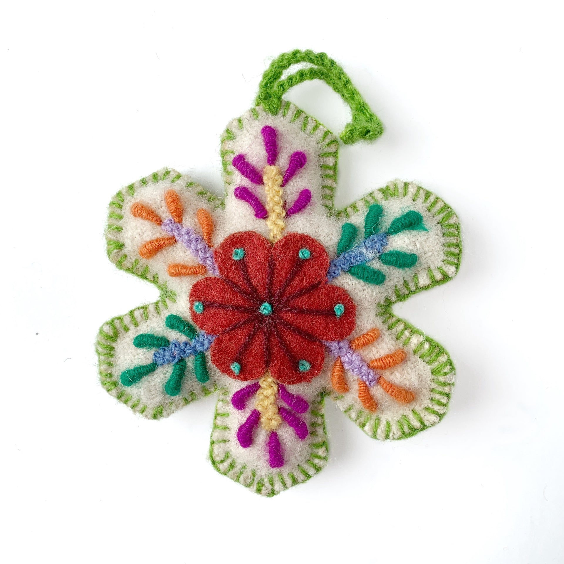 Embroidered Snowflake Ornament Light Green Handmade Peru