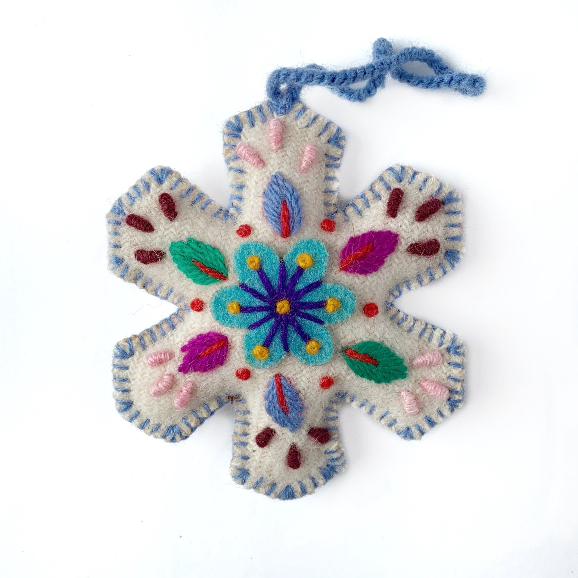 Embroidered Snowflake Ornament Periwinkle Handmade Peru
