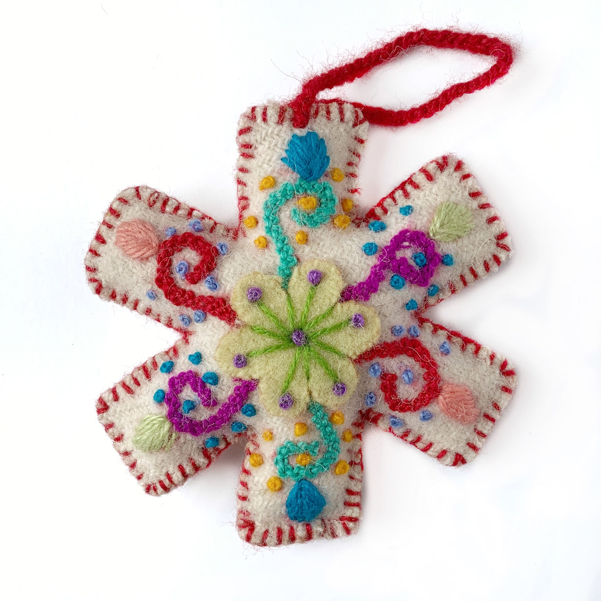 Embroidered Snowflake Ornament Red Handmade Peru