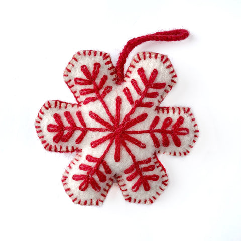 Snowflake Embroidered Wool Ornament, Solid Colors