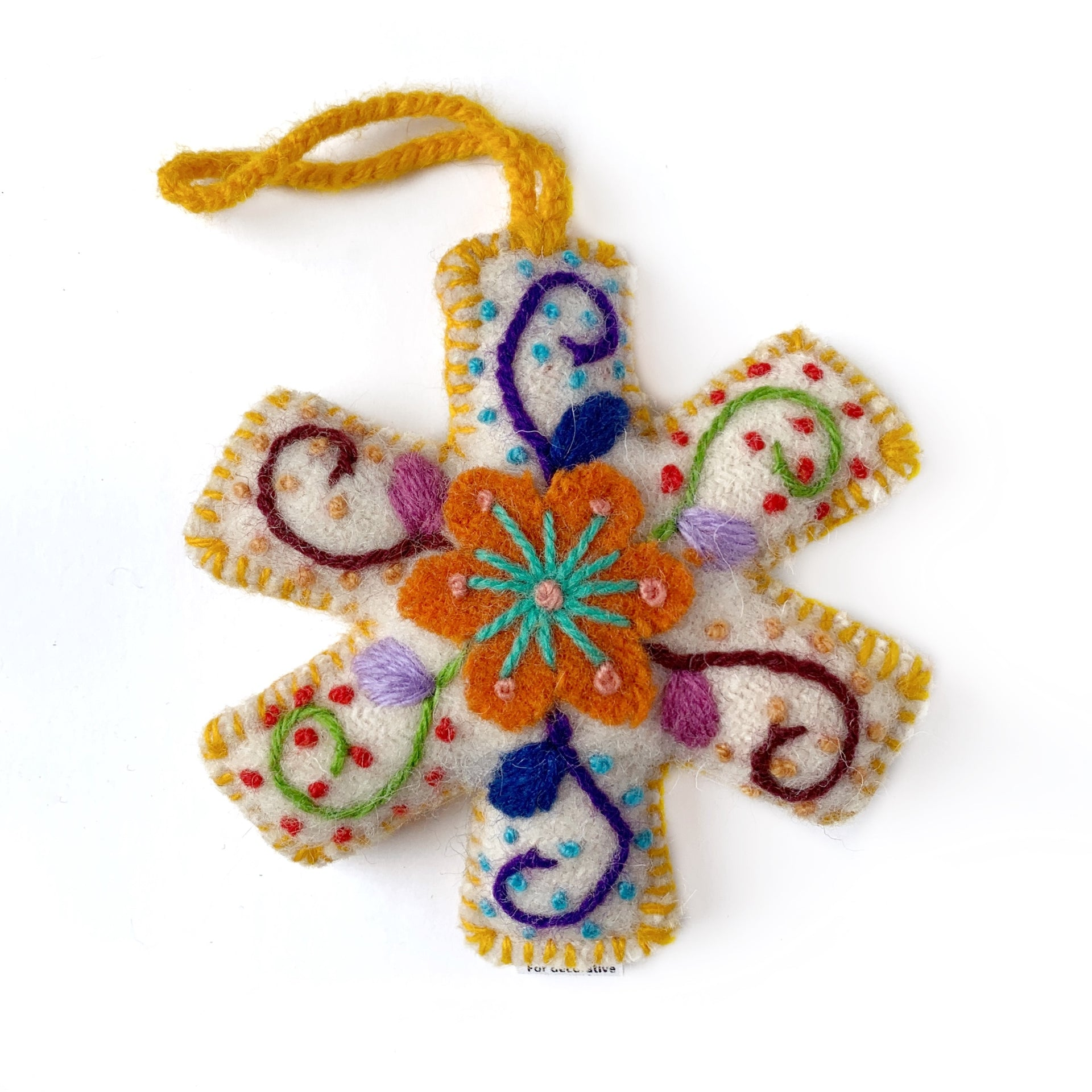 Embroidered Snowflake Ornament Yellow Handmade Peru