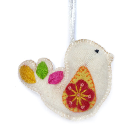 Dove, Embroidered Wool Ornament