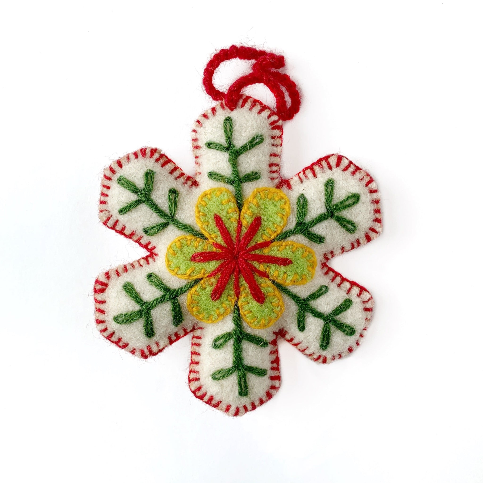 Embroidered Wool Snowflake Ornament Classic Christmas