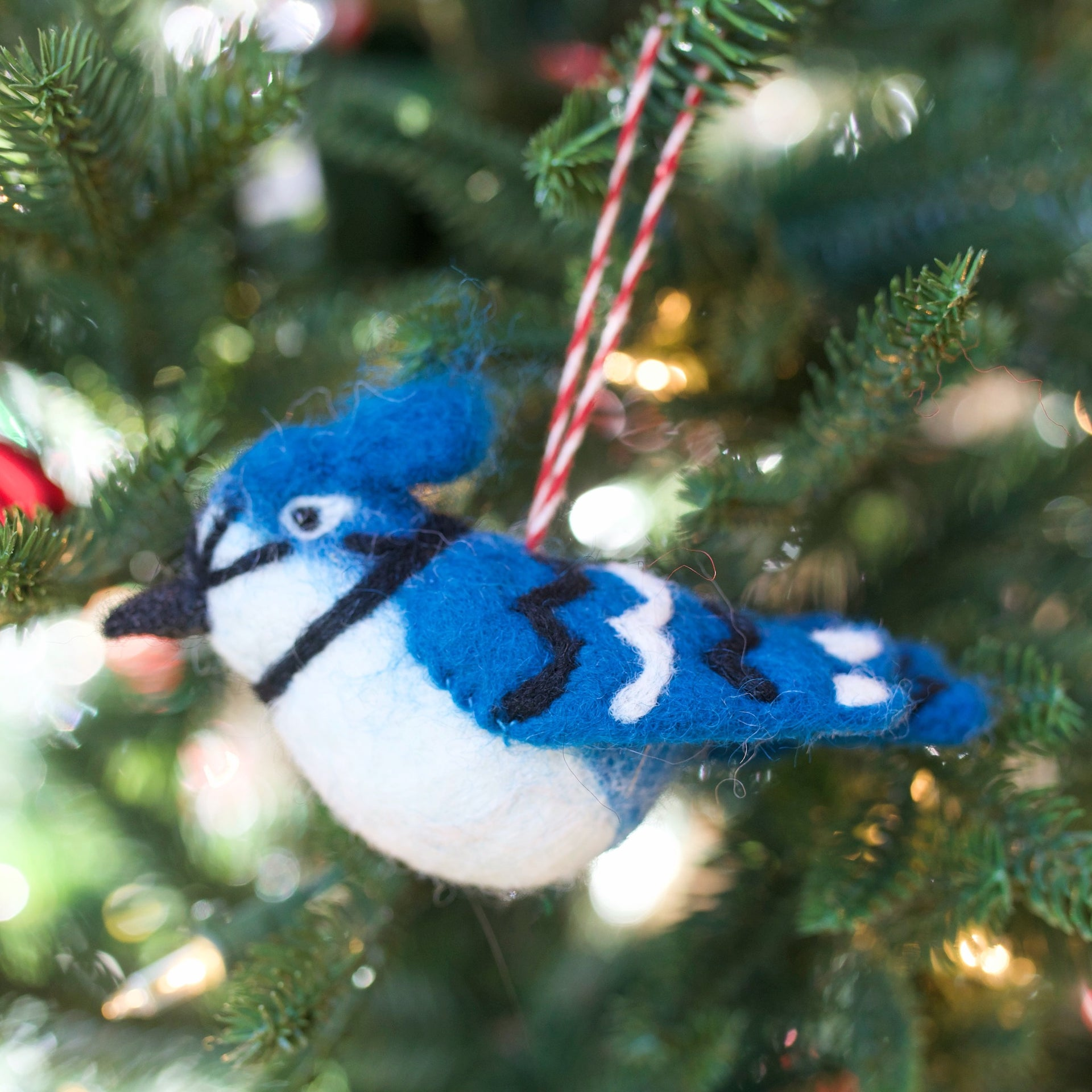Blue Jay Ornament, Felt Wool