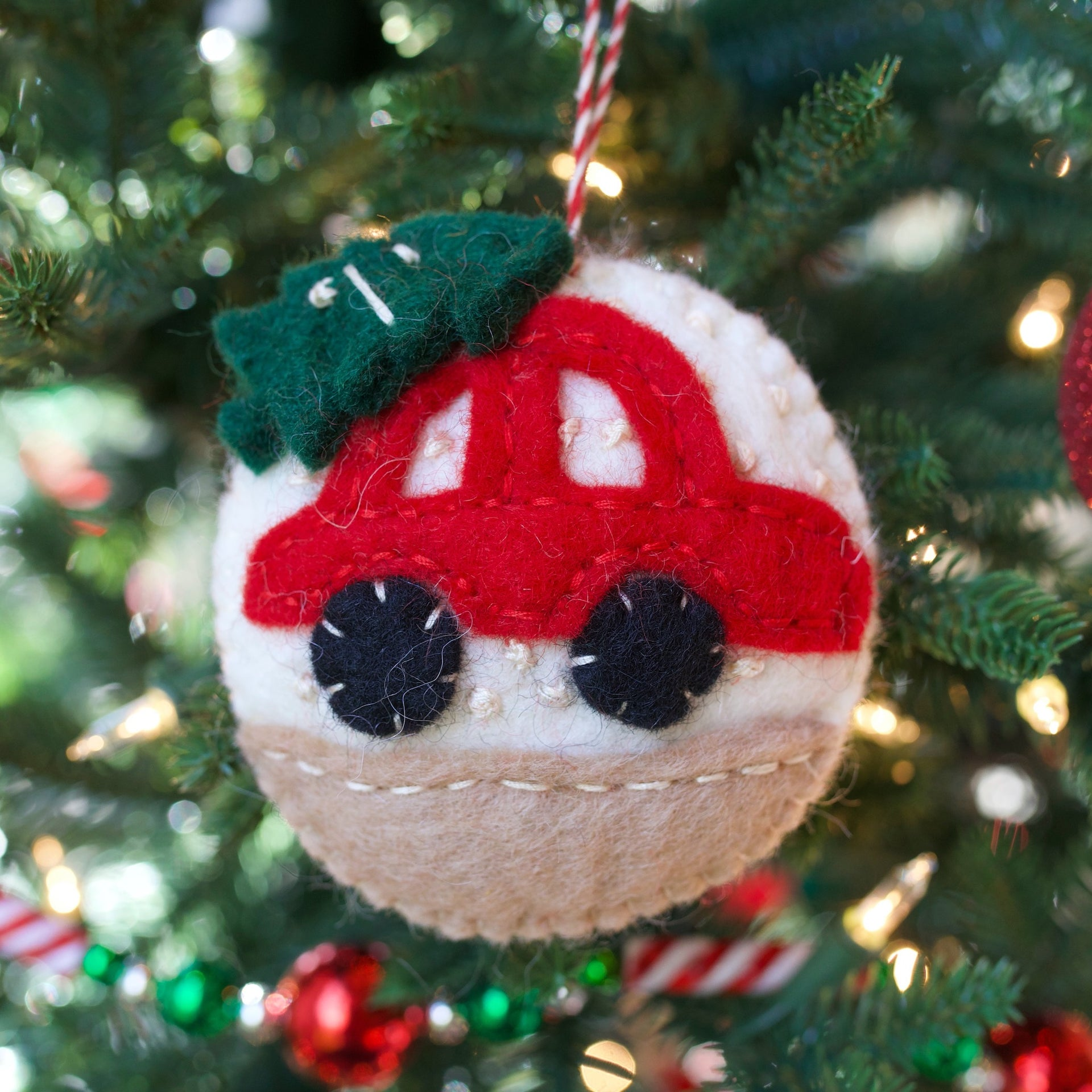 Car with Tree Ornament, Felted Wool