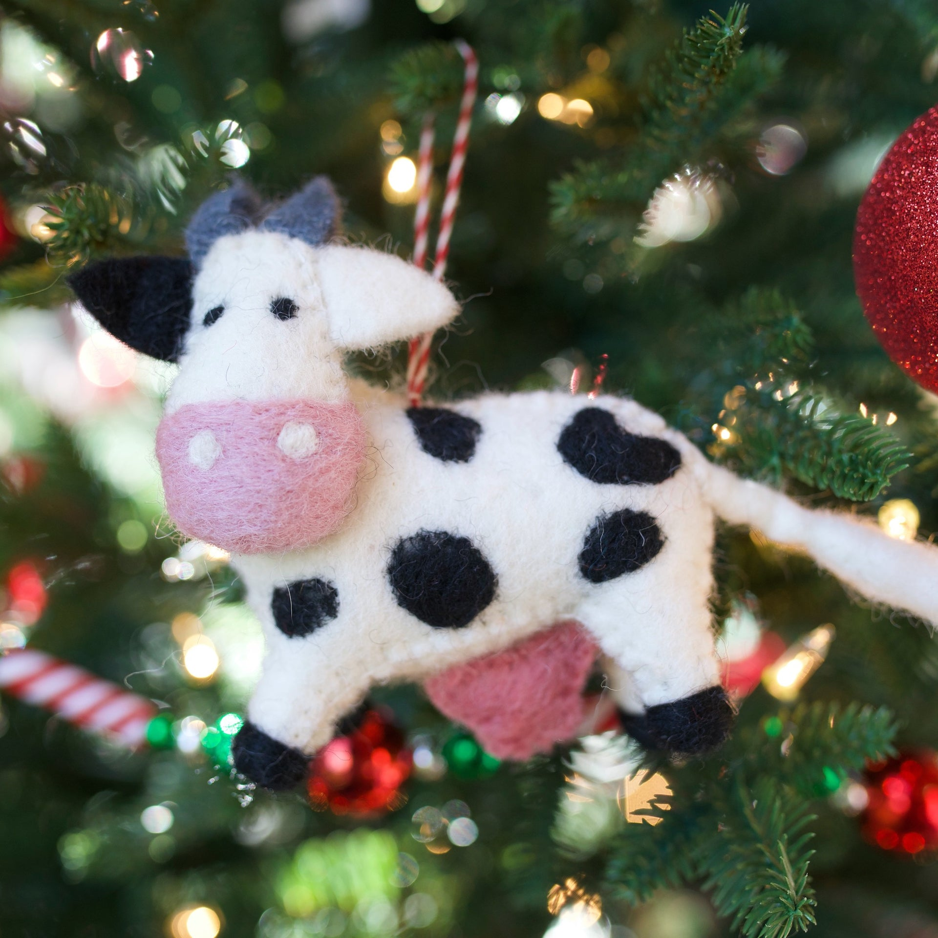 Cow Ornament, Felted Wool