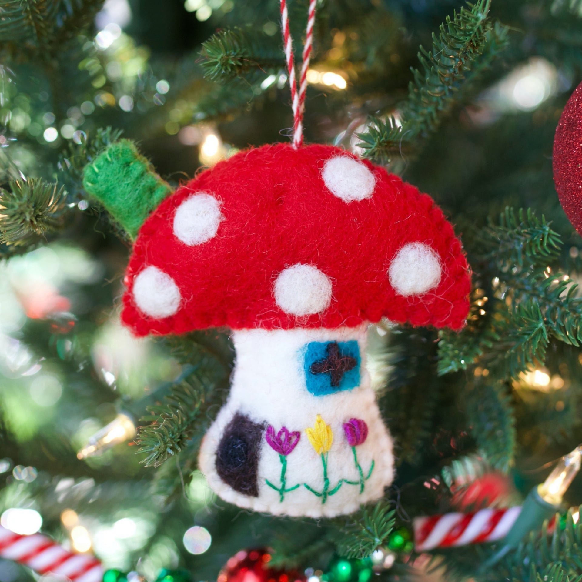 Mushroom House Ornament, Felt Wool
