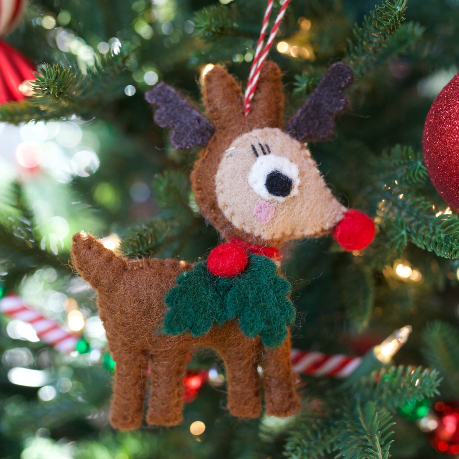 Reindeer with Holly Ornament, Felt Wool