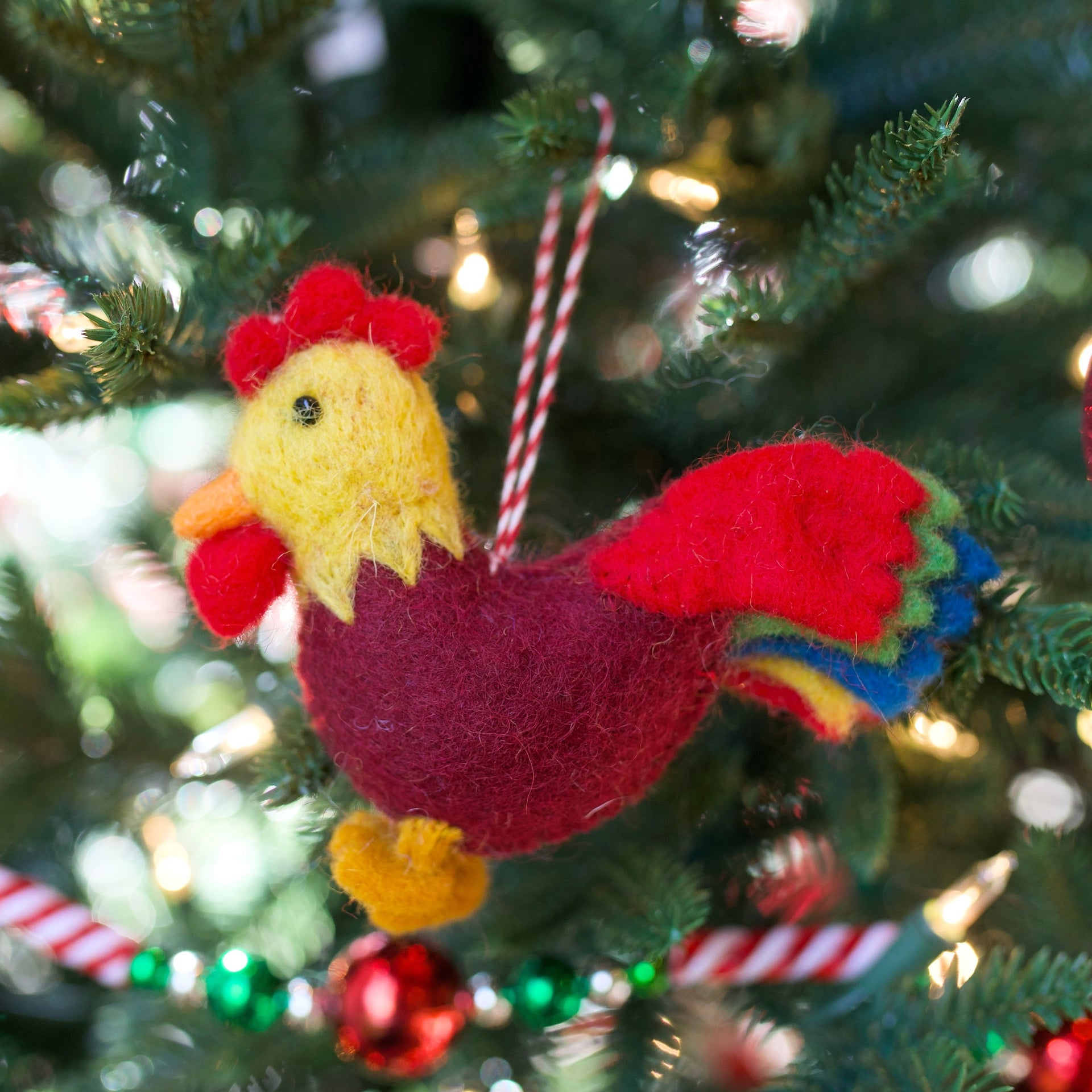 Rooster Ornament, Felt Wool