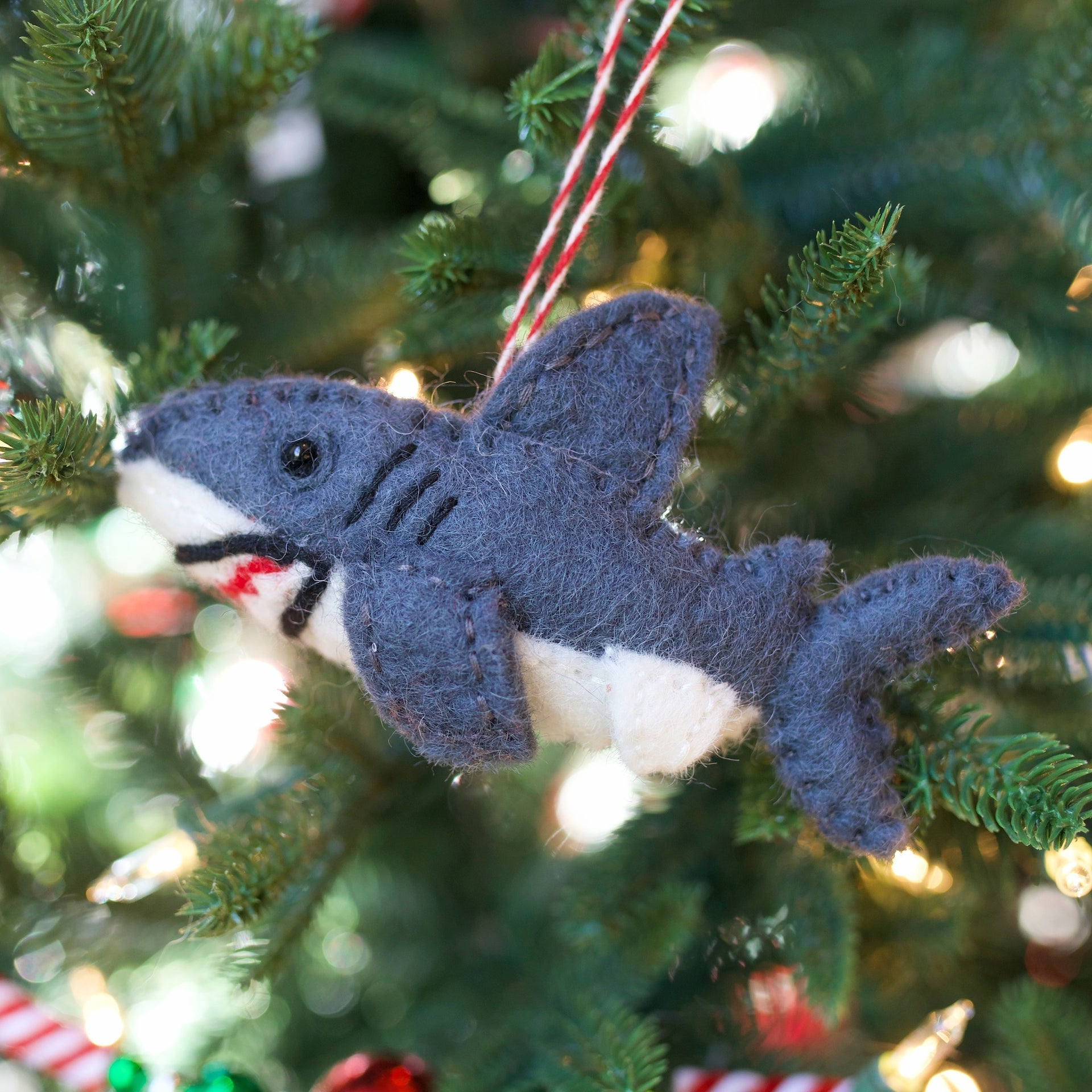 Shark Ornament, Felt Wool