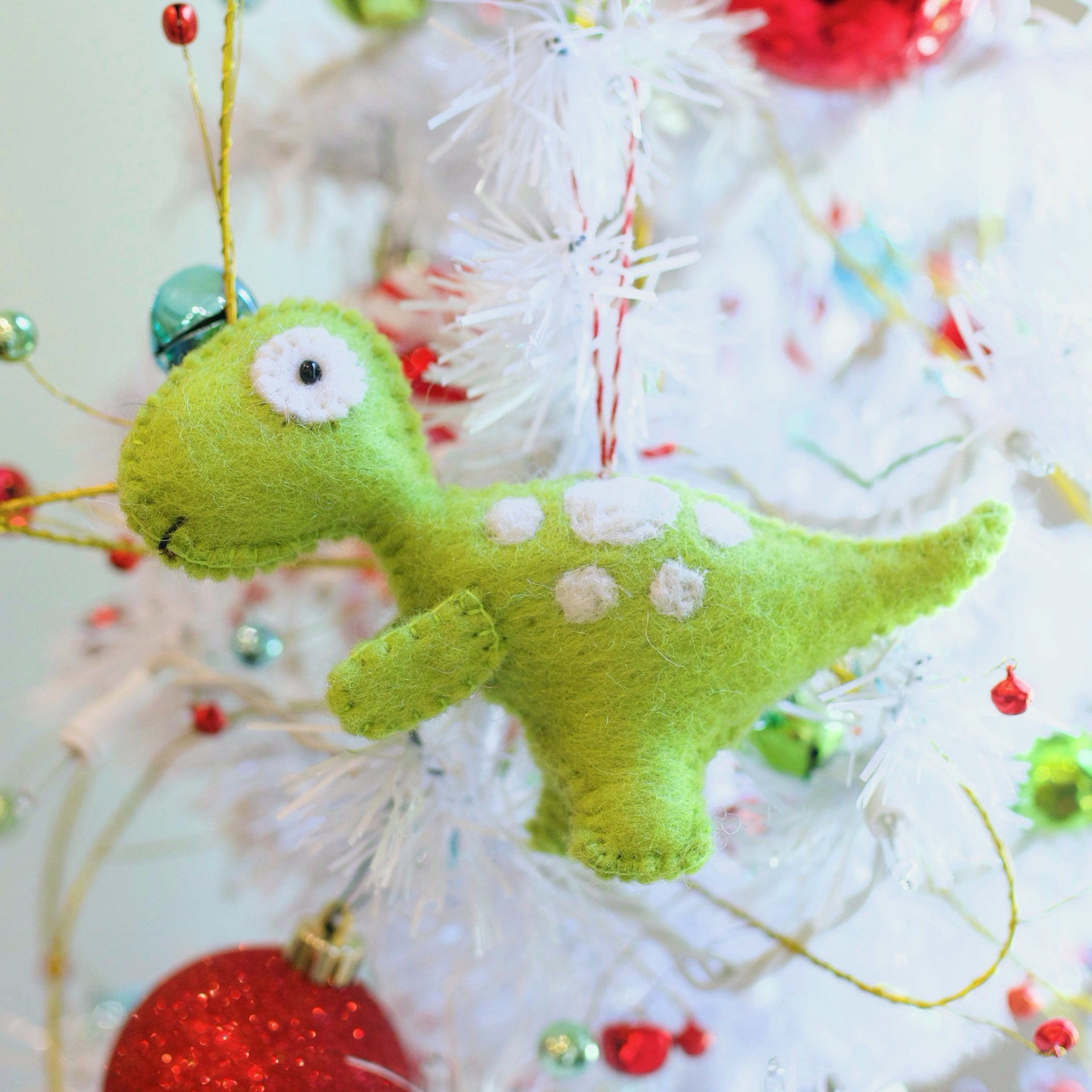 T-Rex Dinosaur Ornament, Felt Wool
