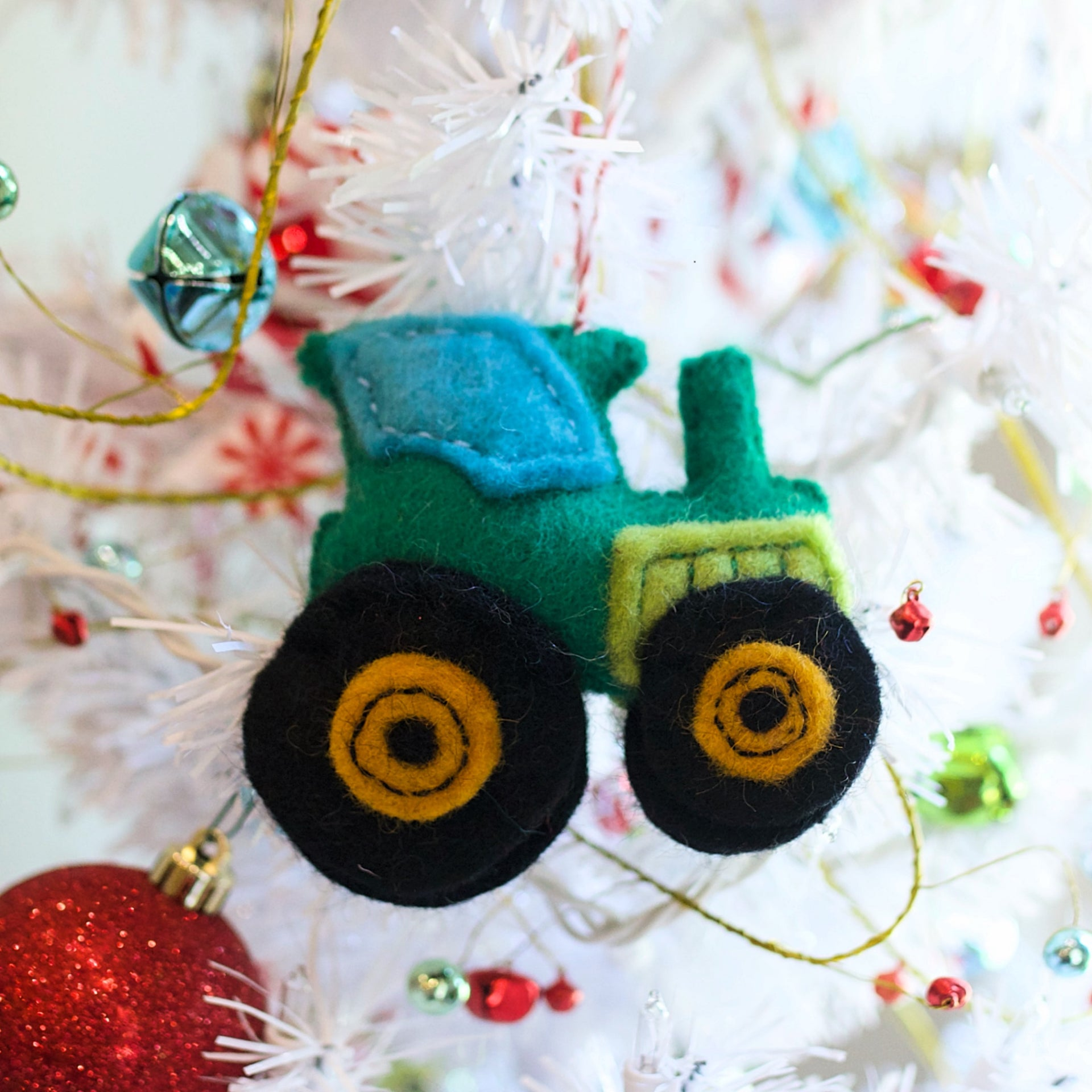 Tractor Ornament, Felt Wool