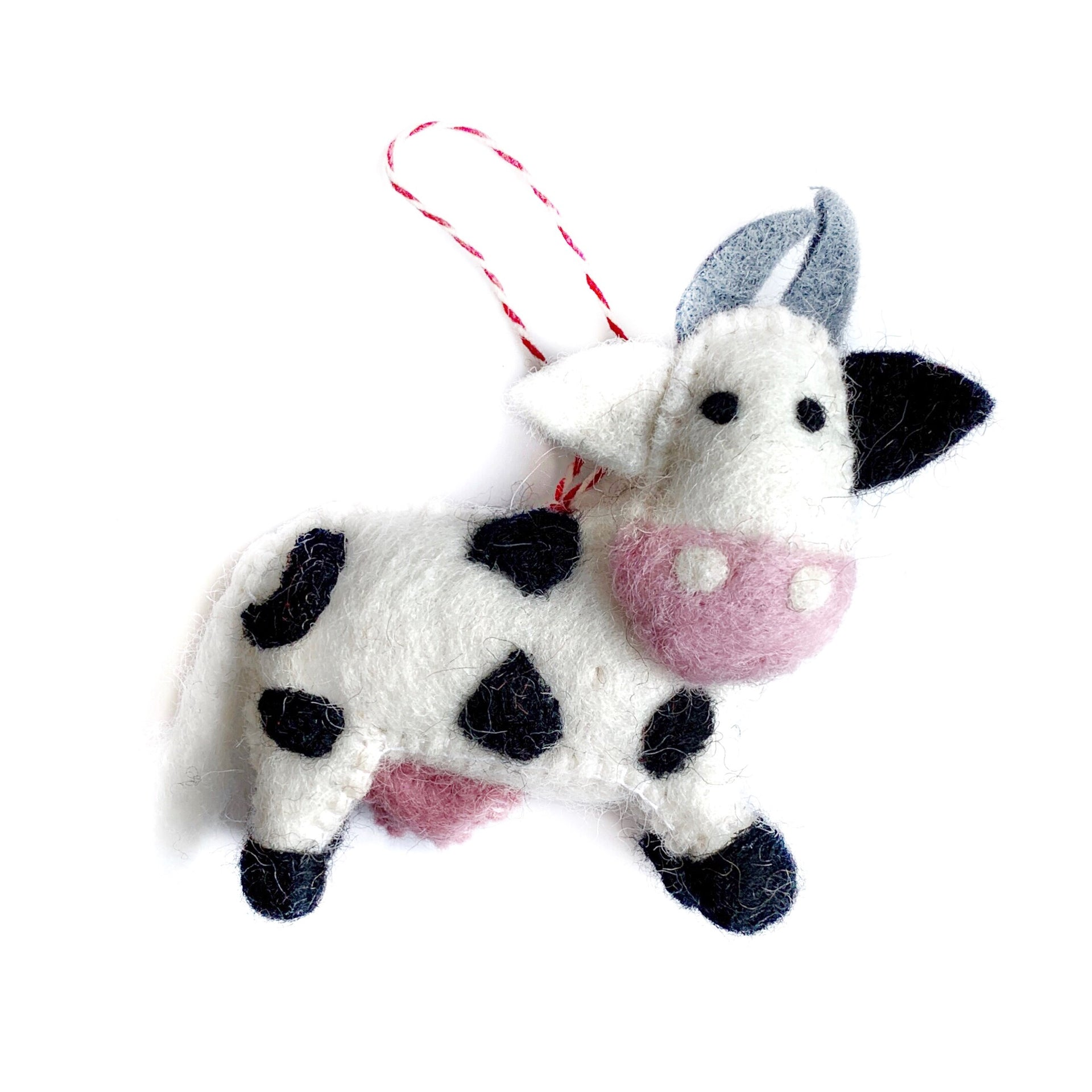 Black and White Cow Christmas Ornament Felt Wool