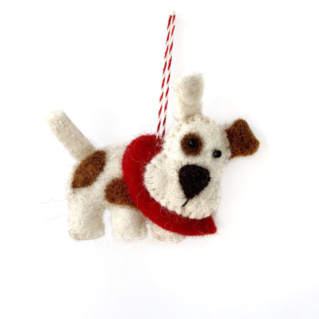 Dog Christmas Ornament Felt Wool Fair Trade