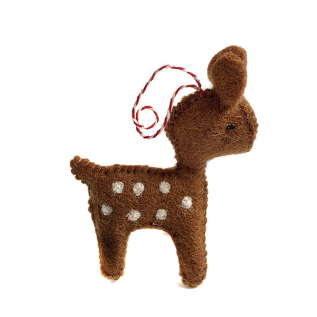 Fawn Deer Christmas Ornament Felt Wool Fair Trade