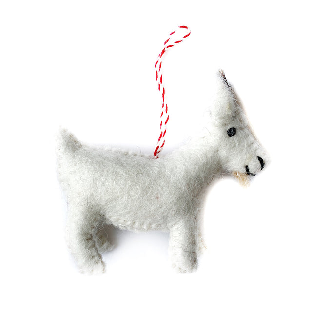 Goat Christmas Ornament Felted Wool Fair Trade