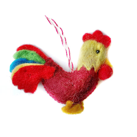 Rooster Christmas Ornament Felted Wool Fair Trade
