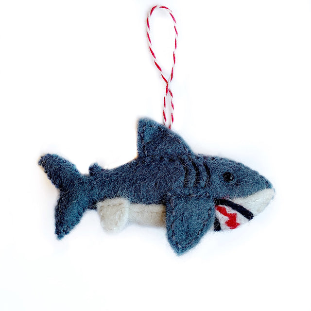 Great White Shark Christmas Ornament Handmade Felt