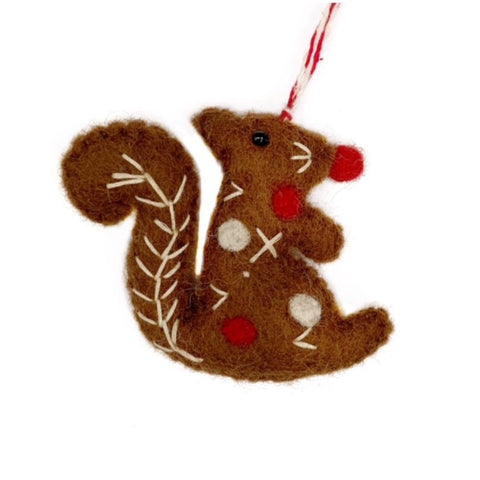 Squirrel Ornament, Felted Wool