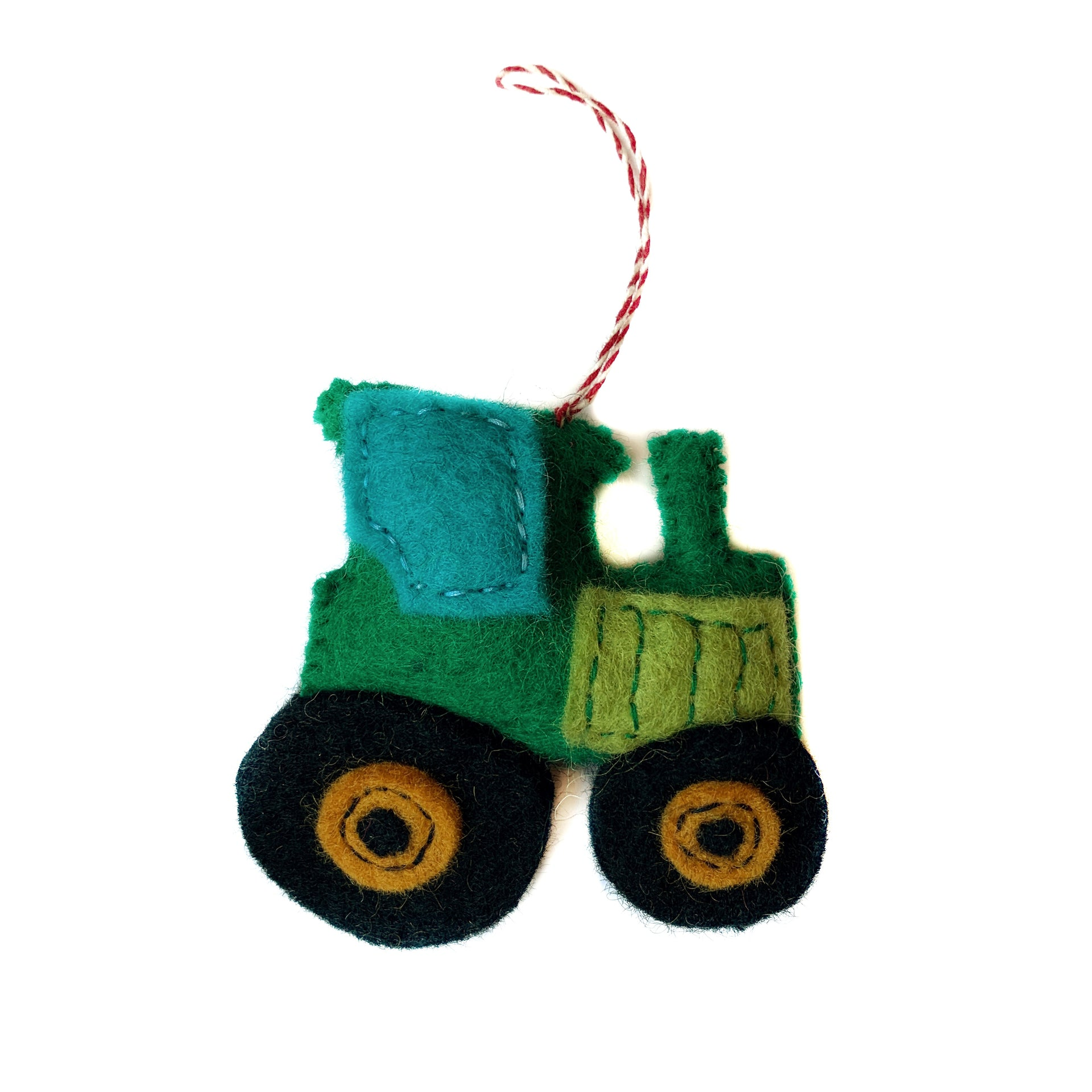 Green Tractor Christmas Ornament Felt Wool Handmade